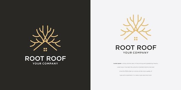 Icono de vector de logotipo de casa de árbol de raíz de árbol de pino