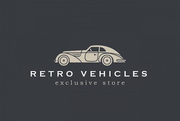 Icono de vector de logotipo de coche retro