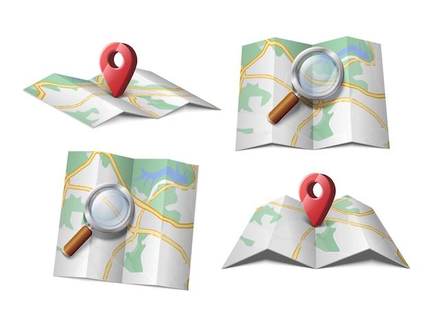 Icono de vector de mapa con lupa o flecha roja gps