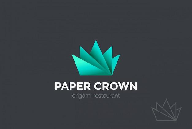 Icono de vector de papel origami crown logo.