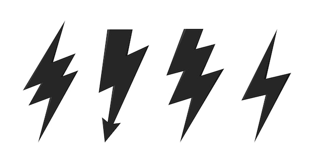 Icono de vector de perno de trueno conjunto de iconos de flash de iluminación de trueno y perno