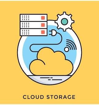Icono de vector plano de almacenamiento en la nube