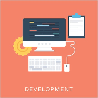 Icono de vector plano de desarrollo