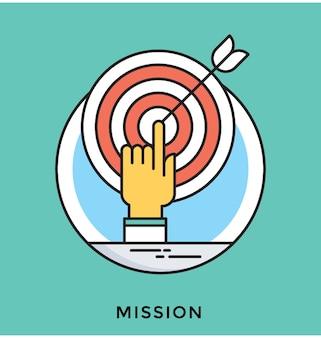 Icono de vector plano de misión