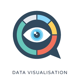Icono de vector plano de visualización de datos