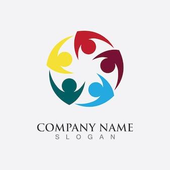 Icono de vector de plantilla de logotipo de adopción y cuidado comunitario