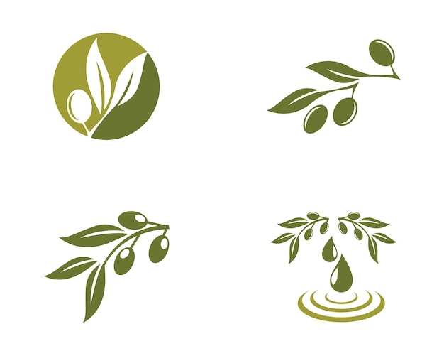 Icono de vector de plantilla de logotipo de oliva