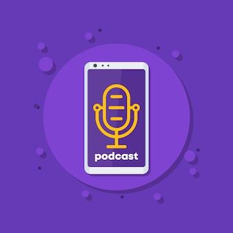 Icono de vector de podcast con micrófono y teléfono