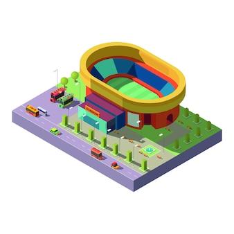 Icono de vector de proyección isométrica del estadio de la ciudad