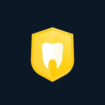 Icono de vector de seguro o protección dental