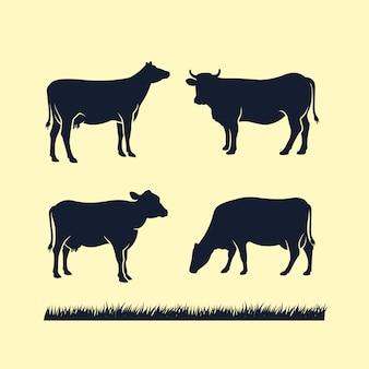 Icono de vector de silueta de vaca