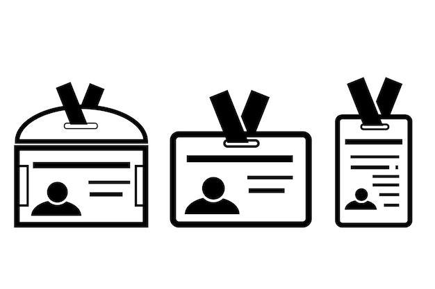Icono de vector simple, 3 variaciones de tarjeta de identificación, aislado en blanco
