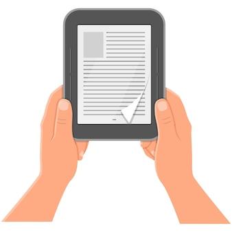 Icono de vector de tableta digital de lector de libros electrónicos aislado en blanco