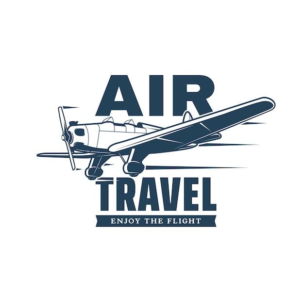 Icono de vector de viaje aéreo con avión retro o biplano