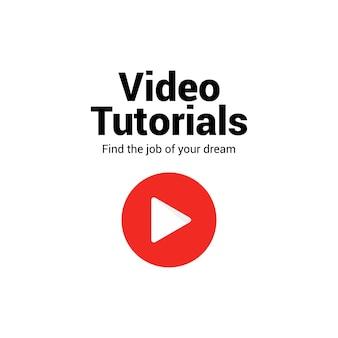 Icono de vector de video tutorial. seminario web de capacitación en video tutorial en línea de marketing en medios planos.