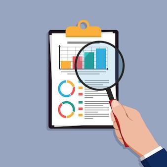 Icono de vectores de investigación de auditoría, análisis de datos de informes financieros, concepto de contabilidad analítica con gráficos y diagramas