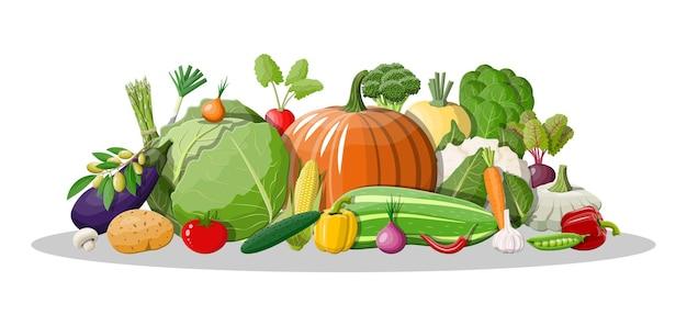 Icono de vegetales grandes aislado en blanco
