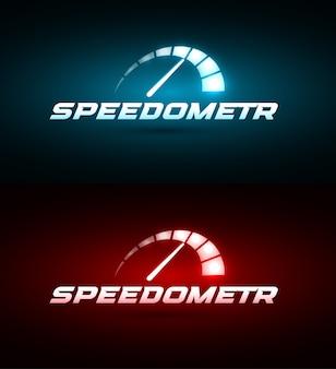 Icono de velocímetro. conjunto de indicador de velocidad que brilla intensamente azul y rojo