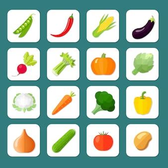 El icono de las verduras fijó el sistema con la ilustración aislada vector de la berenjena del maíz de los guisantes chile