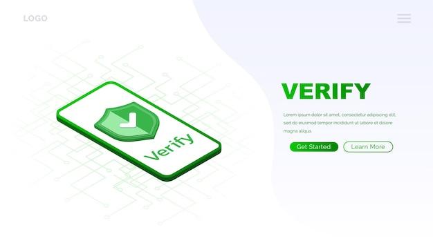 Icono verificado en la pantalla del teléfono página de carga del sitio web icono aprobado marca de verificación icono verificado y protegido aprobado isométrico