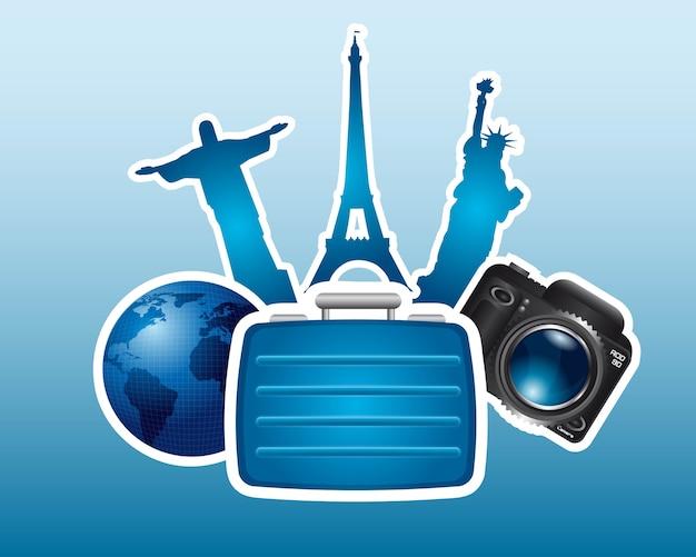 Icono de viaje sobre fondo azul, ilustración vectorial