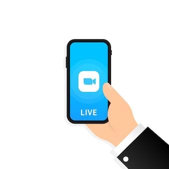 Icono de videollamada en vivo o aplicación de transmisión de medios en vivo en el teléfono