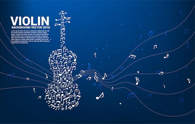 Icono de violín de vector música melodía nota baile flujo forma.