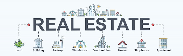 Icono web de banner de bienes raíces para propiedad e inversión. terreno y edificación.