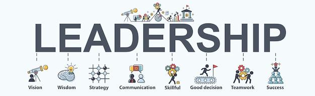 Icono de web de banner de liderazgo para los negocios.