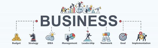 Icono de web de banner de negocios para negocios y marketing.