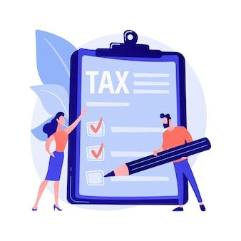 Icono de la web de declaración de ingresos. personaje de dibujos animados del contribuyente. contando la idea de beneficio. proceso contable, análisis financiero, factura electrónica. documento de pago.