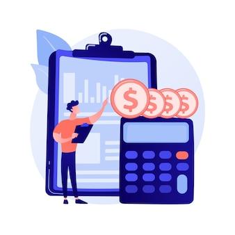 Icono de web de dibujos animados de balance. proceso contable, analista financiero, herramientas de cálculo. idea de consultoría financiera. servicio de contabilidad.