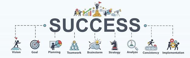 Icono de web infografía banner de éxito para los negocios.
