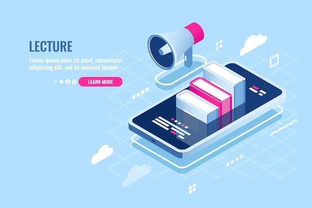 Icono web isométrico de seminario web, curso de internet, teléfono móvil con libro en pantalla