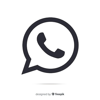Icono de whatsapp blanco y negro