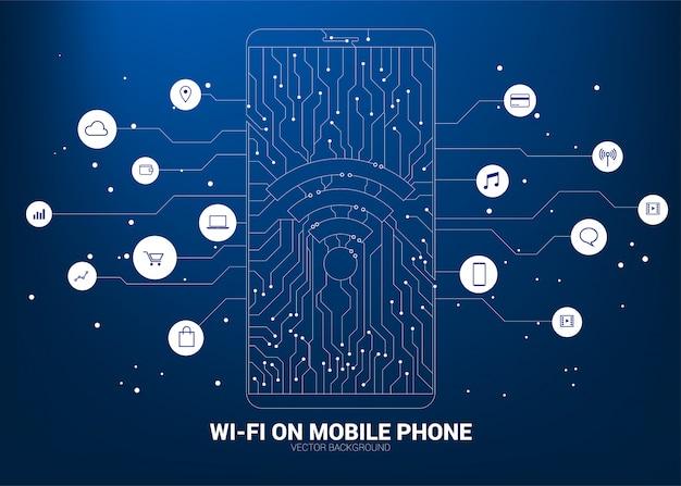 Icono de wi-fi en el teléfono móvil con gráfico de línea de circuito