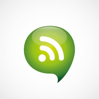 Icono de wifi verde piensa en el logotipo del símbolo de la burbuja, aislado sobre fondo blanco.
