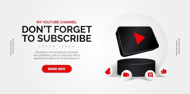 Icono de youtube ilustración conceptual abstracta aislado en blanco.