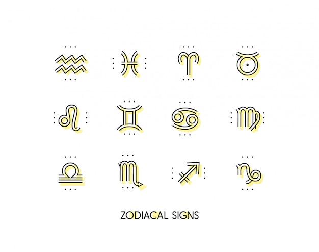 Icono del zodiaco símbolos sagrados signos de astrología colección vintage de línea fina. sobre fondo blanco