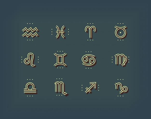 Icono del zodiaco símbolos sagrados signos de astrología colección vintage de línea fina. sobre fondo oscuro