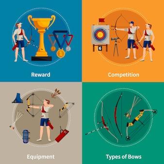 Iconos de 2x2 planos de tiro con arco coloridos con arqueros, recompensas, tipos de arcos y equipos