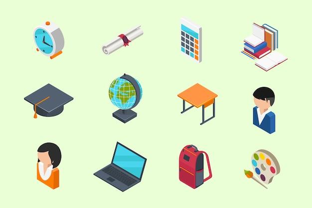 Iconos 3d isométricos de educación y escuela en estilo plano