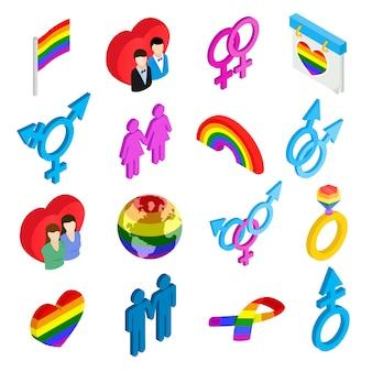 Iconos 3d isométricos del orgullo gay