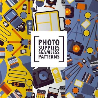 Iconos de accesorios de fotografía en patrones sin fisuras tienda de equipos fotográficos