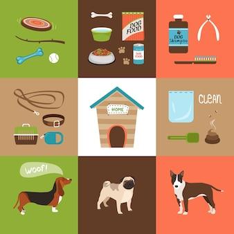 Iconos de accesorios para perros y perros en un estilo plano. ilustración vectorial
