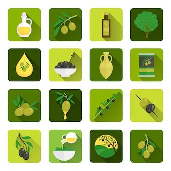 Iconos de aceite de oliva en tonos verdes