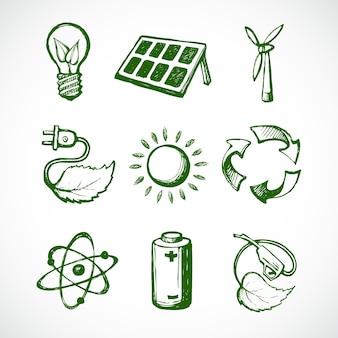 Iconos acerca de la ecología, dibujados a mano