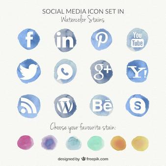 Iconos de acuarela de redes sociales