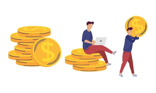 Iconos de ahorro de personas y monedas