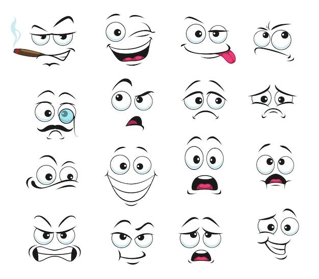 Iconos aislados de expresión facial, divertidos dibujos animados emoji fumando cigarro, guiño y tristeza, sonriendo, confundido y usar anteojos monóculo con bigote. conjunto de expresiones faciales alegres, enojadas y con lengua